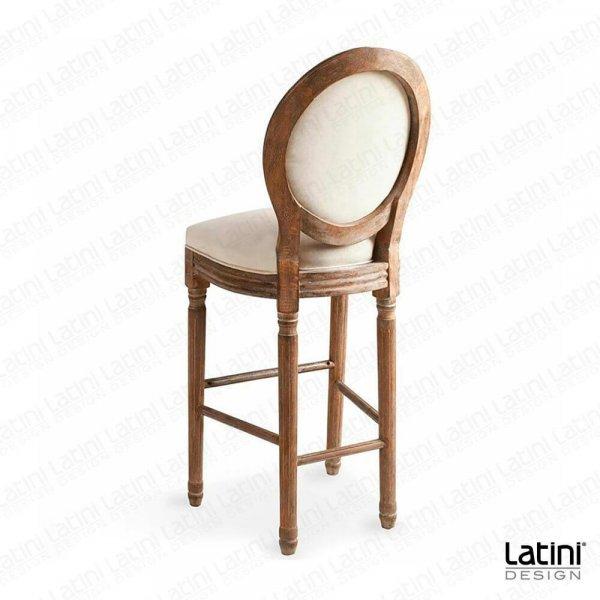Sgabello Luigi XVI Lino in Legno