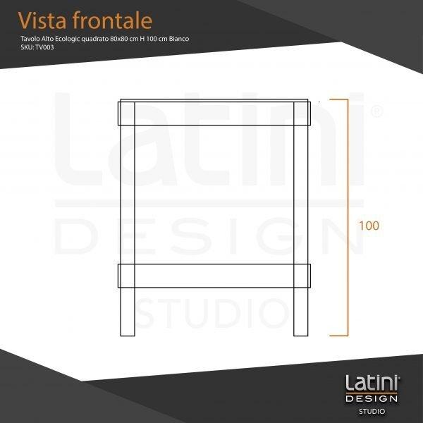 Tavolo Alto Ecologic quadrato 80x80 cm H 100 cm Bianco