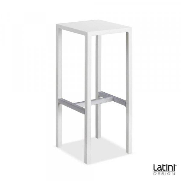 Sgabello Metallic Bianco Satinato 35x35 cm H 75 cm