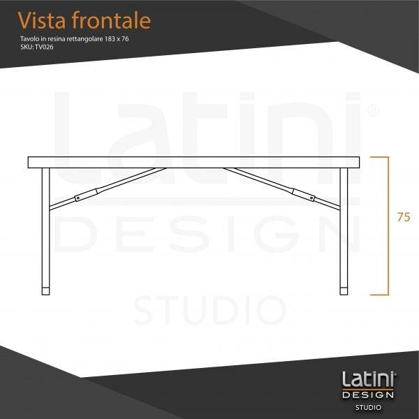 Tavolo in resina rettangolare 183x76 cm